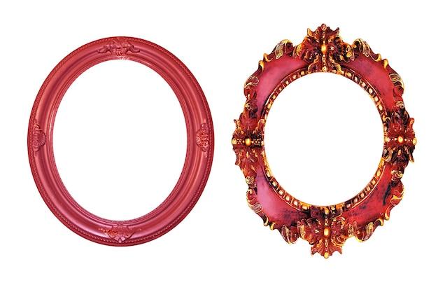 Czerwone koło starodawny obraz ramki na białym tle.