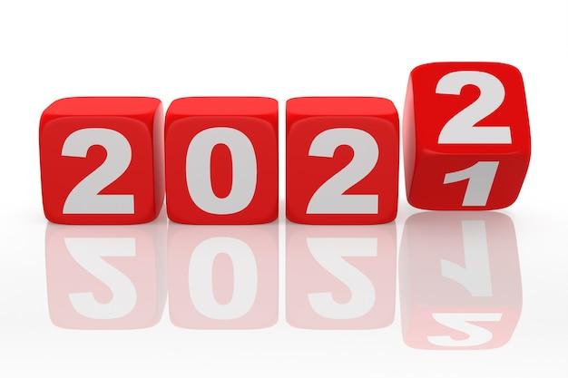 Czerwone kości 2022. na białym tle. renderowanie 3d