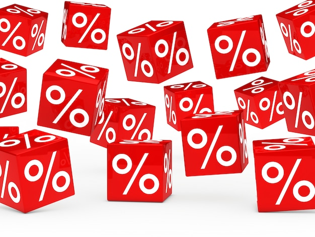 Czerwone kostki z procentów