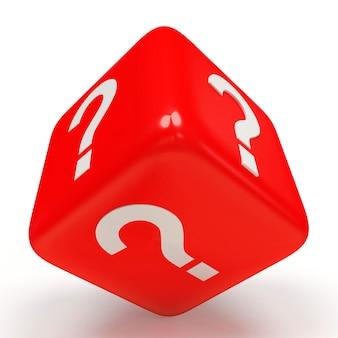 Czerwone kostki ze znakiem zapytania