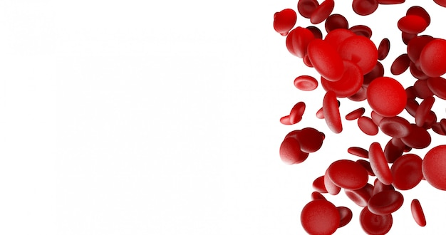 Czerwone krwinki na białej pustej przestrzeni po lewej stronie