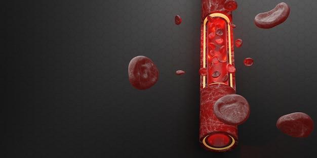 Czerwone krwinki warstwy skóry żyły ilustracja 3d chirurgia wewnątrznaczyniowa