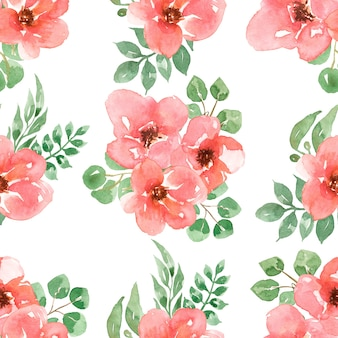 Czerwone kwiaty bezszwowe wzór, papier akwarela róże ogrodowe, kwiaty do tkaniny, wzór powtarzania kwiatów, projektowanie druku, scrapbooking