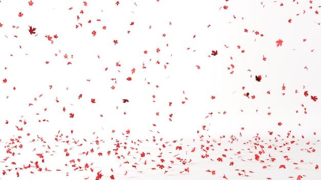 Czerwone liście klonu spadające na białym tle z selektywnej ostrości. renderowanie 3d. pomysł na boże narodzenie minimal concept.