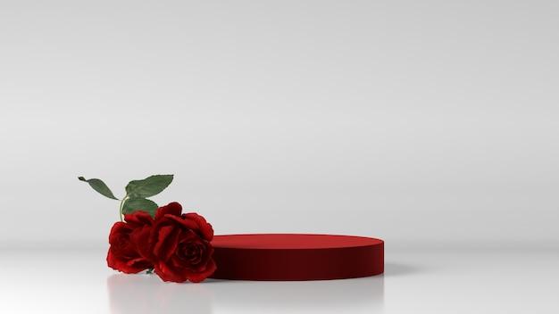Czerwone podium do lokowania produktu ozdobione różą