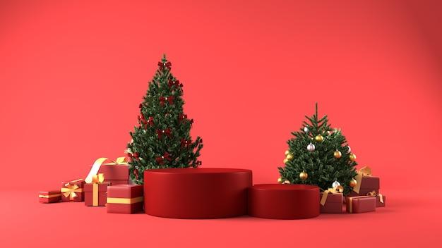Czerwone podium do lokowania produktu w tematyce bożonarodzeniowej