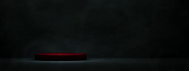 Czerwone podium do wyświetlania produktów na ciemnym tle pokoju. renderowanie 3d, makieta panoramiczna