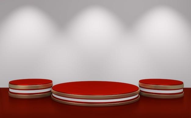 Czerwone podium minimalistyczne geometryczne na białym tle