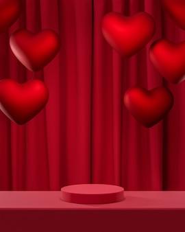 Czerwone podium z czerwonymi balonami i czerwoną kurtyną renderowania 3d