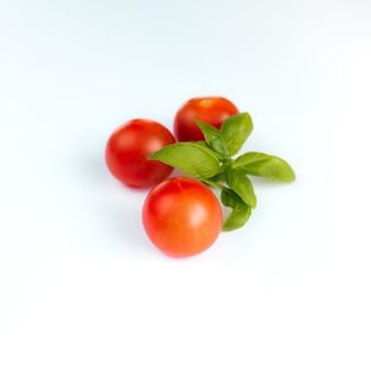 Czerwone pomidory czereśniowe z zieloną bazylią na białym tle
