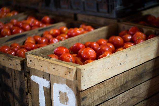 Czerwone pomidory w drewnianym pudełku na rynku indyjskim na mauritiusie