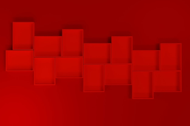 Czerwone pudełko lub makieta tacy na czerwonym tle, renderowanie 3d.