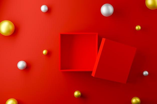 Czerwone pudełko otwarte na czerwonym tle z kulą w kolorze srebrnym i złotym. ilustracja 3d