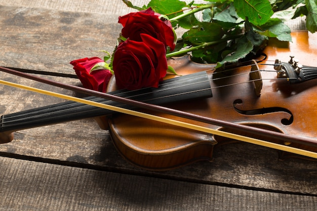 Czerwone Róże I Skrzypce Premium Zdjęcia