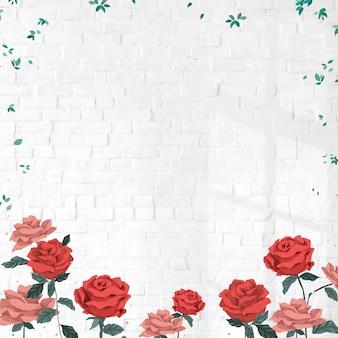 Czerwone róże ramka walentynkowa z ceglanym murem w tle