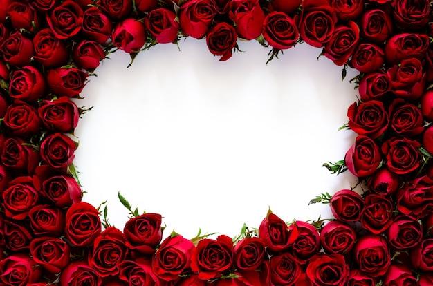 Czerwone róże ramki na walentynki koncepcja.