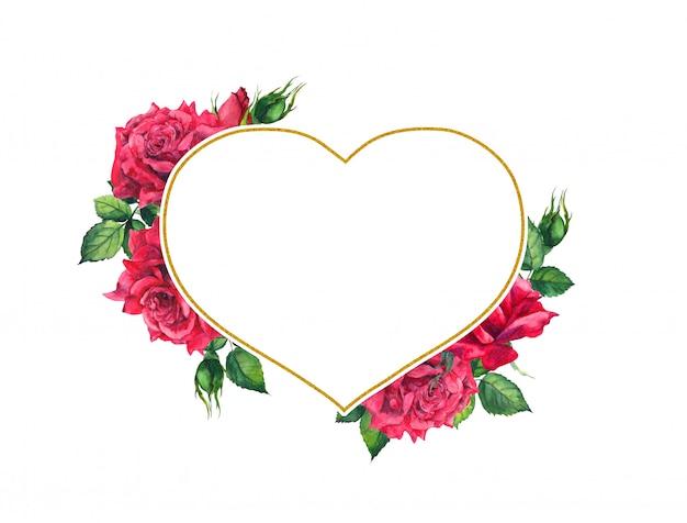 Czerwone róże w złotej ramie w kształcie serca. karta akwarela