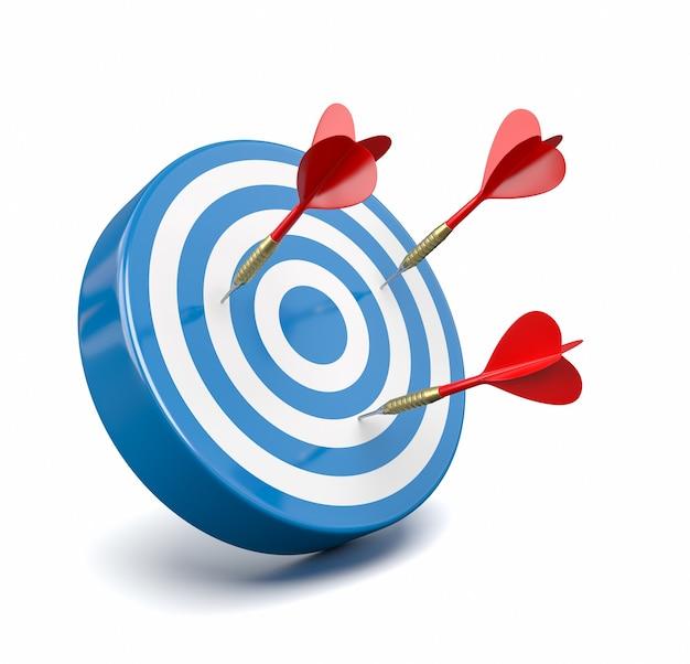 Czerwone rzutki uderzając niebieski cel, koncepcja awarii