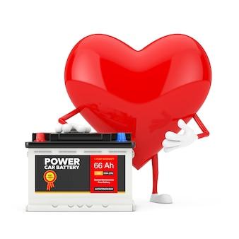 Czerwone serce charakter maskotka i akumulator samochodowy 12 v akumulator z streszczenie etykieta na białym tle. renderowanie 3d