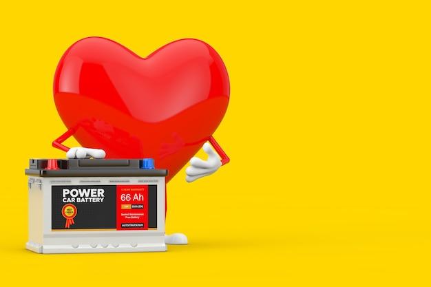 Czerwone serce charakter maskotka i akumulator samochodowy 12 v akumulator z streszczenie etykieta na żółtym tle. renderowanie 3d