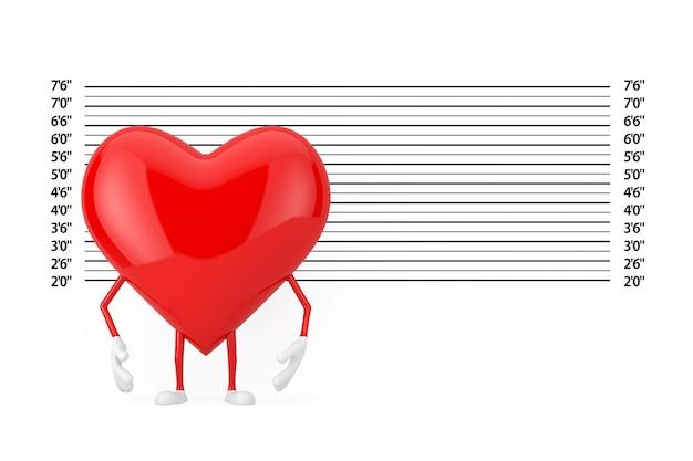 Czerwone serce charakter maskotka przed spisem policji lub ekstremalne zbliżenie tła mugshot. renderowanie 3d
