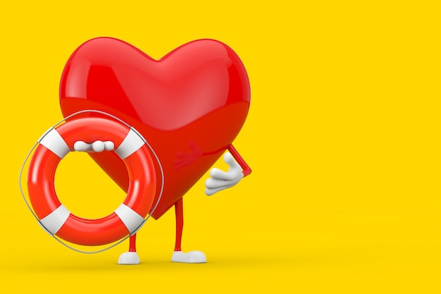 Czerwone serce charakter maskotka z boja ratunkowa na żółtym tle. renderowanie 3d