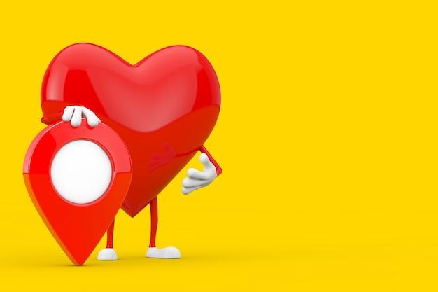 Czerwone serce charakter maskotka z czerwoną szpilką docelową mapę wskaźnika na żółtym tle. renderowanie 3d