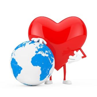 Czerwone serce charakter maskotka z kuli ziemskiej na białym tle. renderowanie 3d