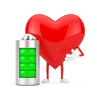 Czerwone serce charakteru maskotka z abstrakcjonistyczną ładującą baterią na białym tle. renderowanie 3d