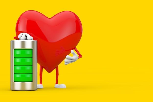 Czerwone serce charakteru maskotka z abstrakcjonistyczną ładującą baterią na żółtym tle. renderowanie 3d