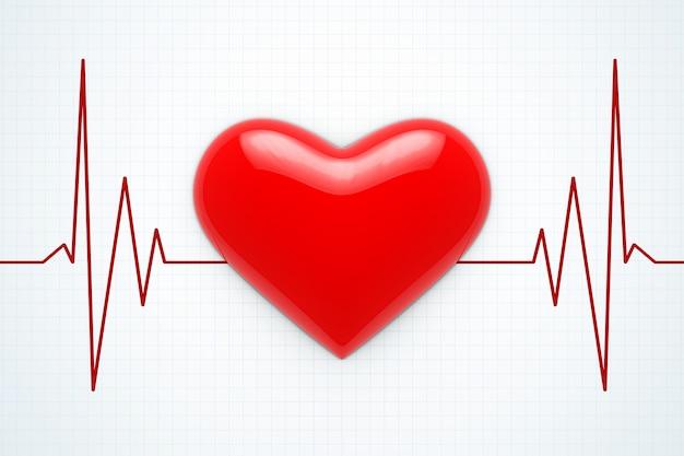 Czerwone serce na ekstremalne zbliżenie tła cardiogram. renderowanie 3d.