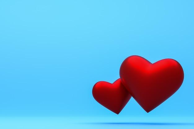 Czerwone serce na niebieskim tle 3d renderowania tła na walentynki, czerwone serce w dzień miłości
