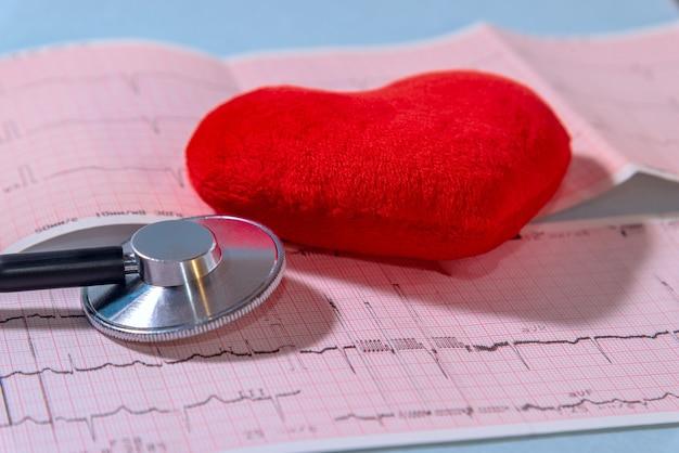 Czerwone serce na tle kardiogramu i stetoskopu, zbliżenie
