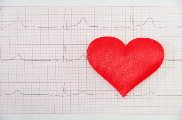 Czerwone serce na tle kardiogramu