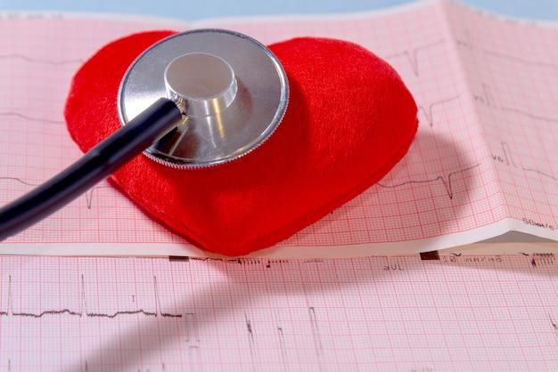 Czerwone serce na tle papierowego kardiogramu i stetoskopu, zbliżenie. koncepcja kardiologii, opieki zdrowotnej i medycyny.