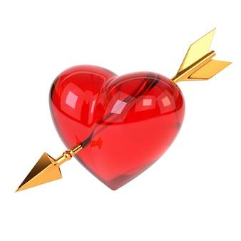Czerwone serce przebite złotą strzałką na białym tle. strzałka kupidyna.