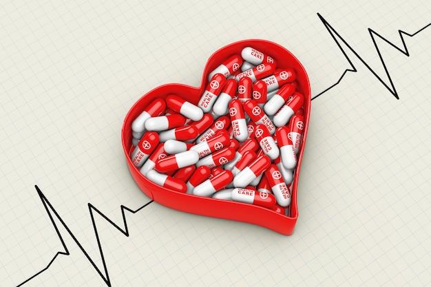 Czerwone serce pudełko z pigułki na ekstremalne zbliżenie tła cardiogram. renderowanie 3d.