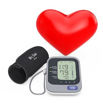 Czerwone serce w pobliżu nowoczesny cyfrowy sprzęt do pomiaru ciśnienia krwi na białym tle. renderowanie 3d
