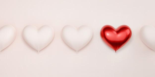 Czerwone serce wyróżnia się na tle pozbawionego twarzy serca w pastelowym różu.