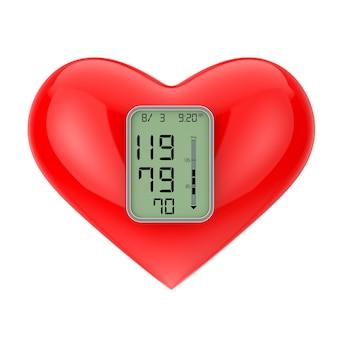 Czerwone serce z ekranem monitora ciśnienia na białym tle. renderowanie 3d
