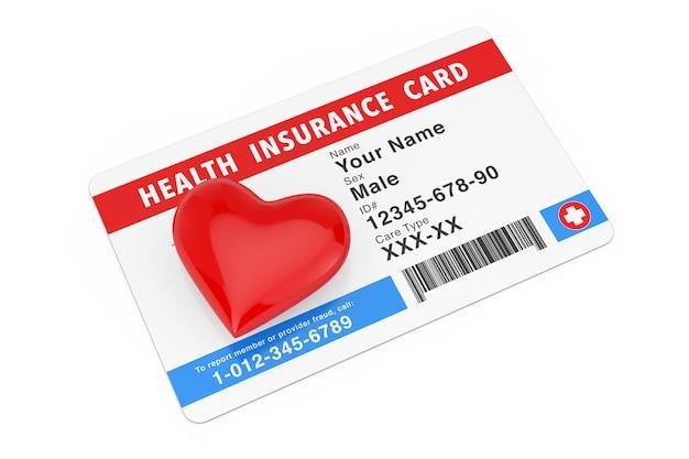 Czerwone serce z ubezpieczenia zdrowotnego koncepcja karty medycznej na białym tle. renderowanie 3d