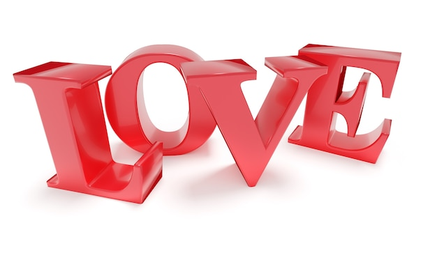 Czerwone słowo miłość z sercem na białym tle