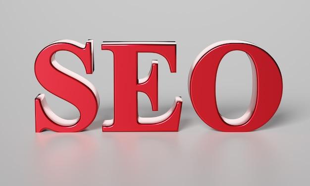 Czerwone słowo seo. optymalizacja wyszukiwarki