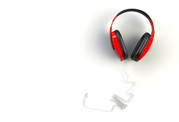 Czerwone słuchawki na białym tle