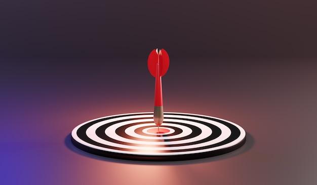 Czerwone strzałki docierają do środkowego celu. rzutki cel. cel biznesowy. sukces koncepcji biznesowej. renderowanie 3d