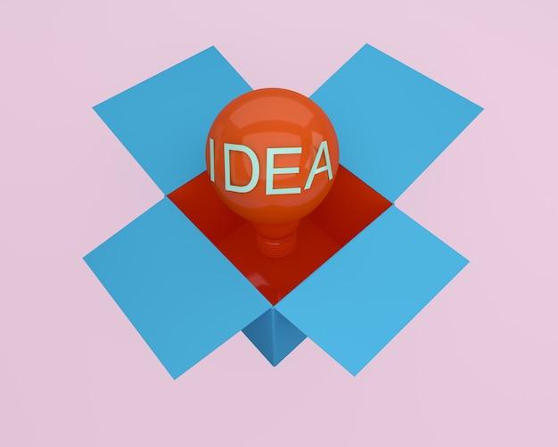 Czerwone światło żarówki rozjaśnia kreatywnie pomysł myśleć na zewnątrz pudełka. minimalny pomysł na pomysł.