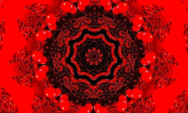 Czerwone świecące tło wzór kwiatowy kalejdoskop