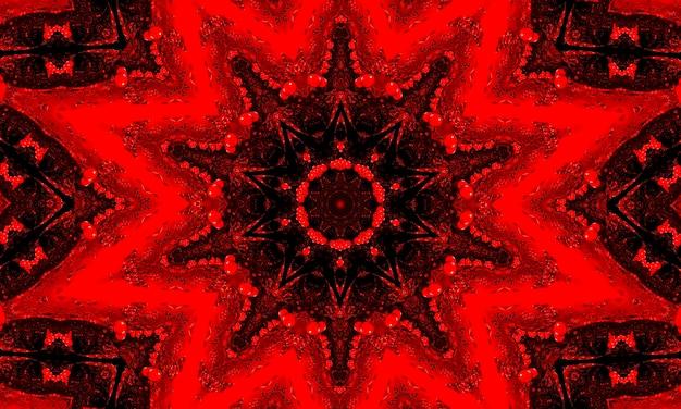 Czerwone świecące tło wzór kwiatowy kalejdoskop.