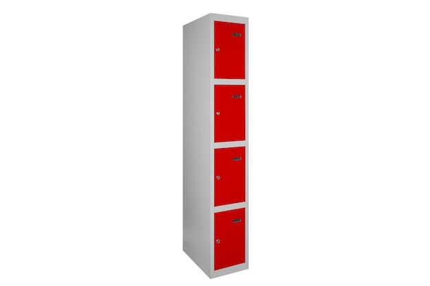 Czerwone szafki do szatni. szare metalowe pudełko do zmiany pokoju