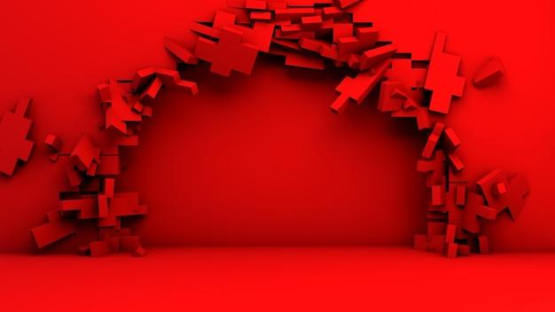 Czerwone tło z rozbitą ścianą, aby umieścić produkt lub przedmiot. . ilustracja 3d. wyświetlacz.
